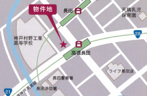 地図(高速長田駅)